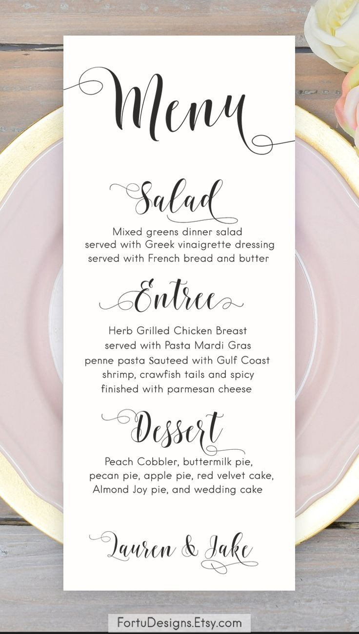 Wedding Menu Card Templates Calligraphy Menu Wedding Menu Printable Menu Cards Script