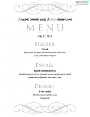 Wedding Menu Card Templates Free Printable Wedding Menu Templates