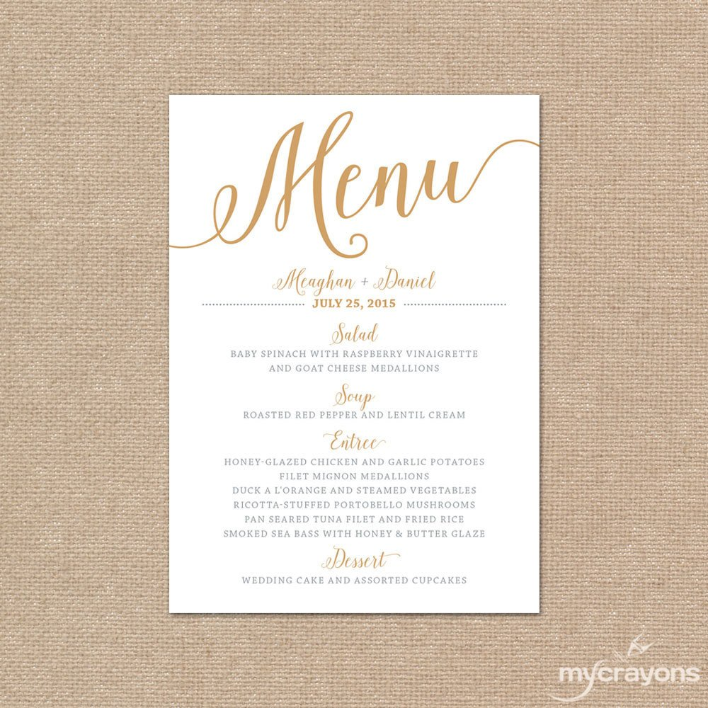 Wedding Menu Card Templates Gold Wedding Menu Card Printable Wedding Menu Bella Script