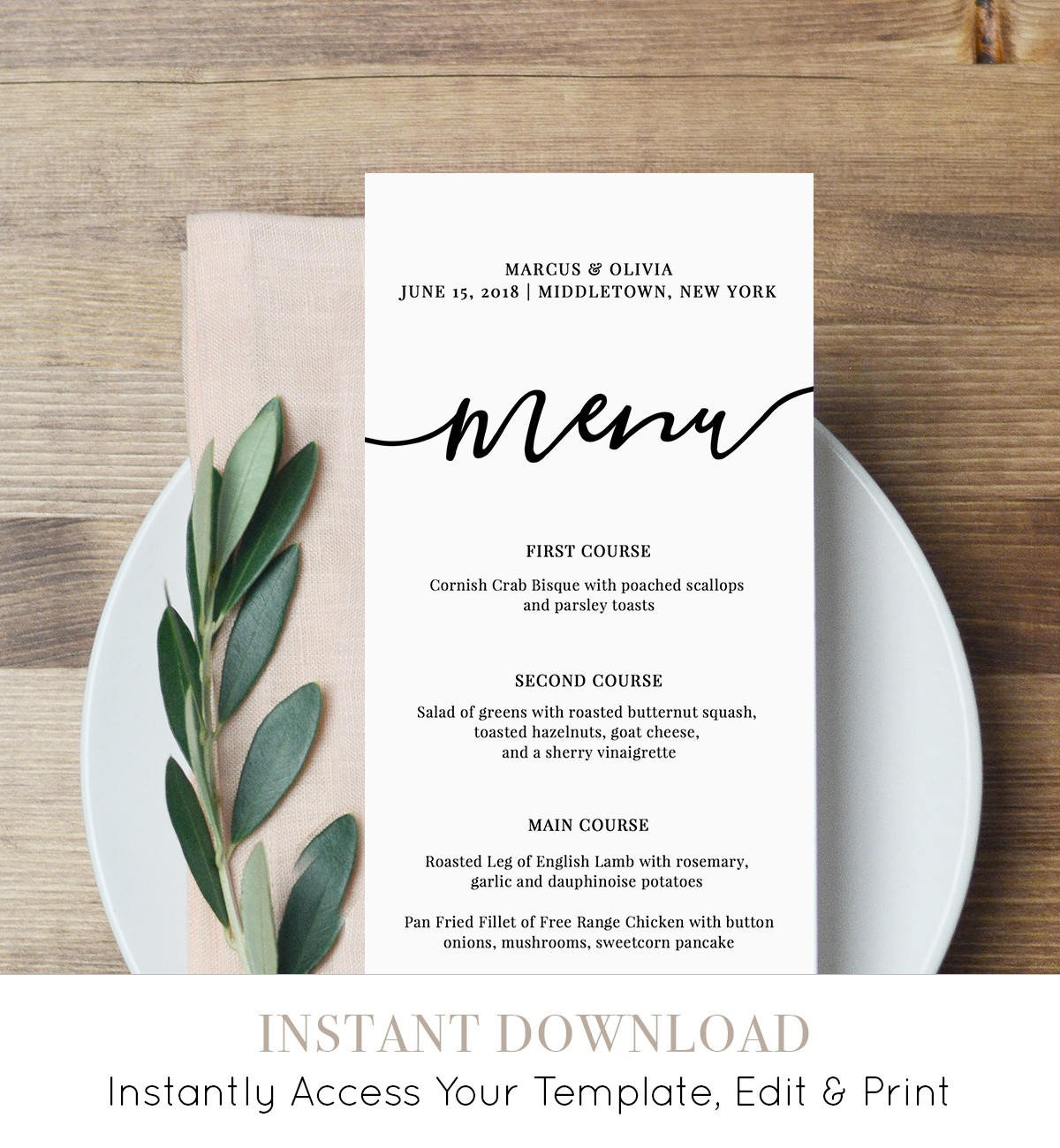 Wedding Menu Card Templates Menu Card Template Printable Wedding Menu Modern Calligraphy