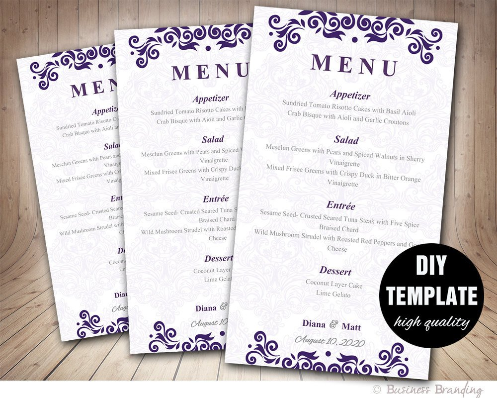 Wedding Menu Card Templates Purple Menu Card Template Diy Wedding Menu Card 4x7purple