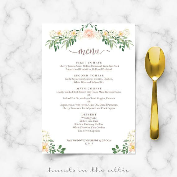 Wedding Menu Card Templates Rustic Wedding Menu Rehearsal Dinner Menu Template Sit Down