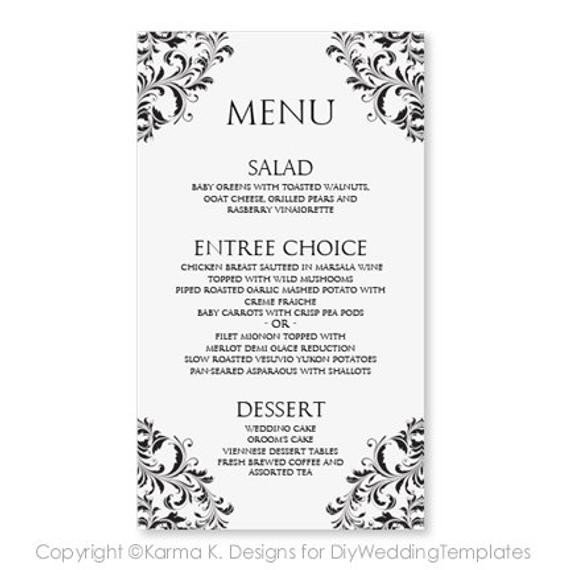 Wedding Menu Card Templates Wedding Menu Card Template Download Instantly by