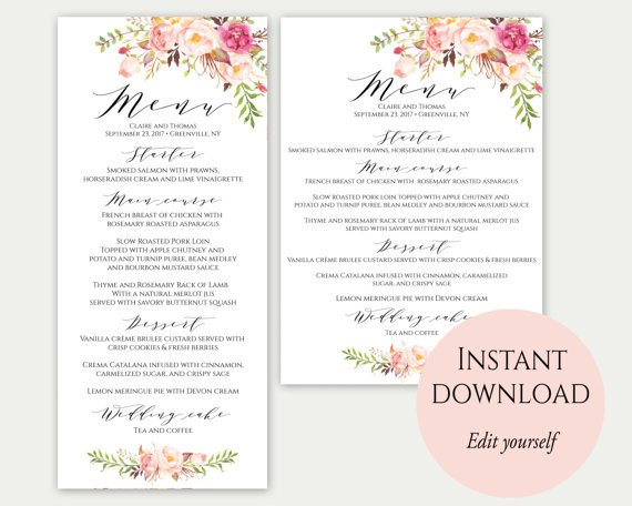 Wedding Menu Card Templates Wedding Menu Template 5x7 4x9 Wedding Menu Cards Menu