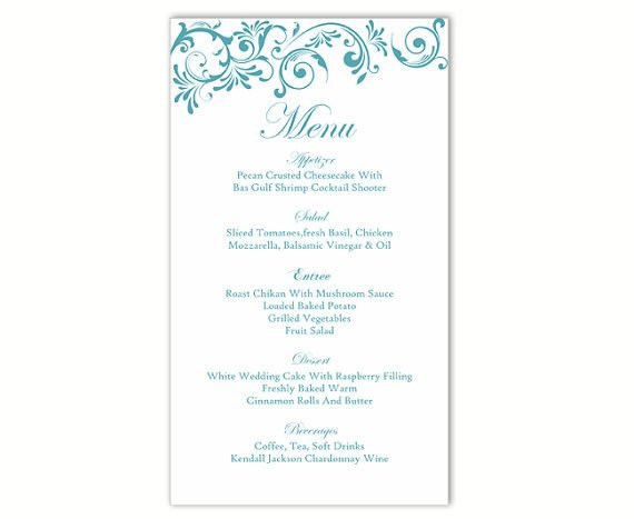 Wedding Menu Card Templates Wedding Menu Template Diy Menu Card Template Editable Text
