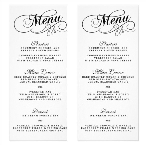 Wedding Menu Template Free 36 Wedding Menu Templates Ai Psd Google Docs Apple