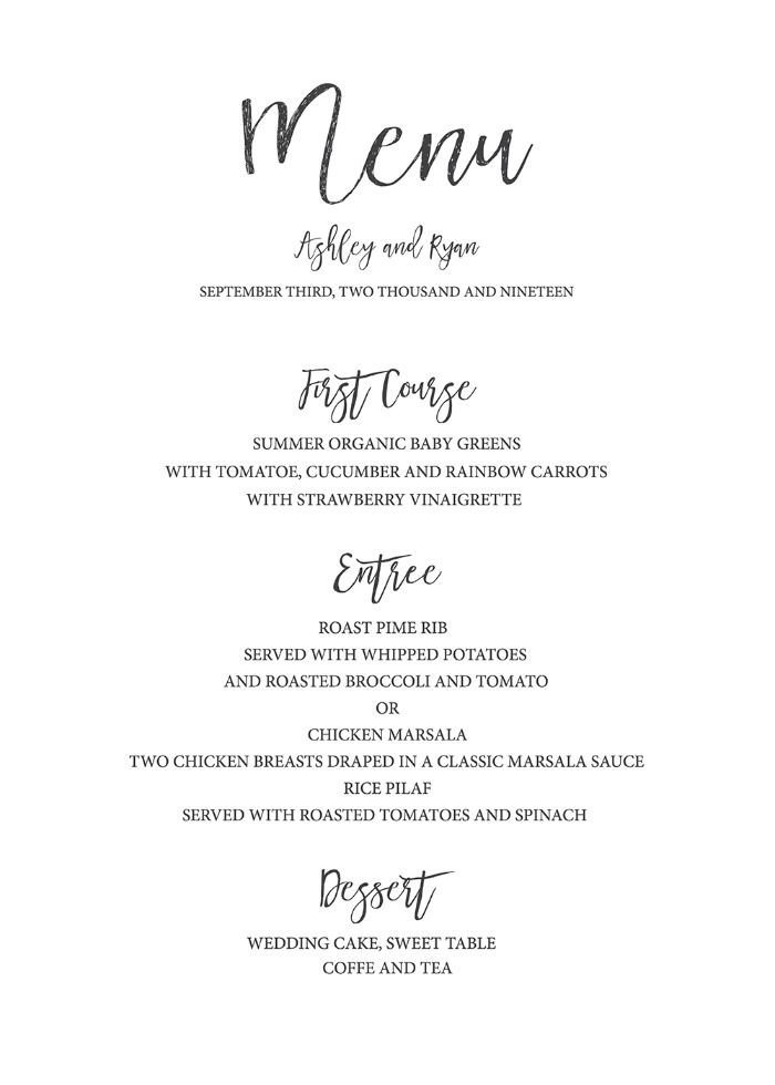 Wedding Menu Template Free Best 25 Wedding Menu Template Ideas On Pinterest