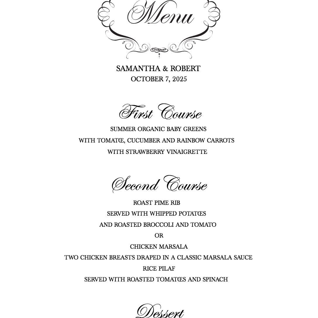Wedding Menu Template Free Download A Free Wedding Menu Template