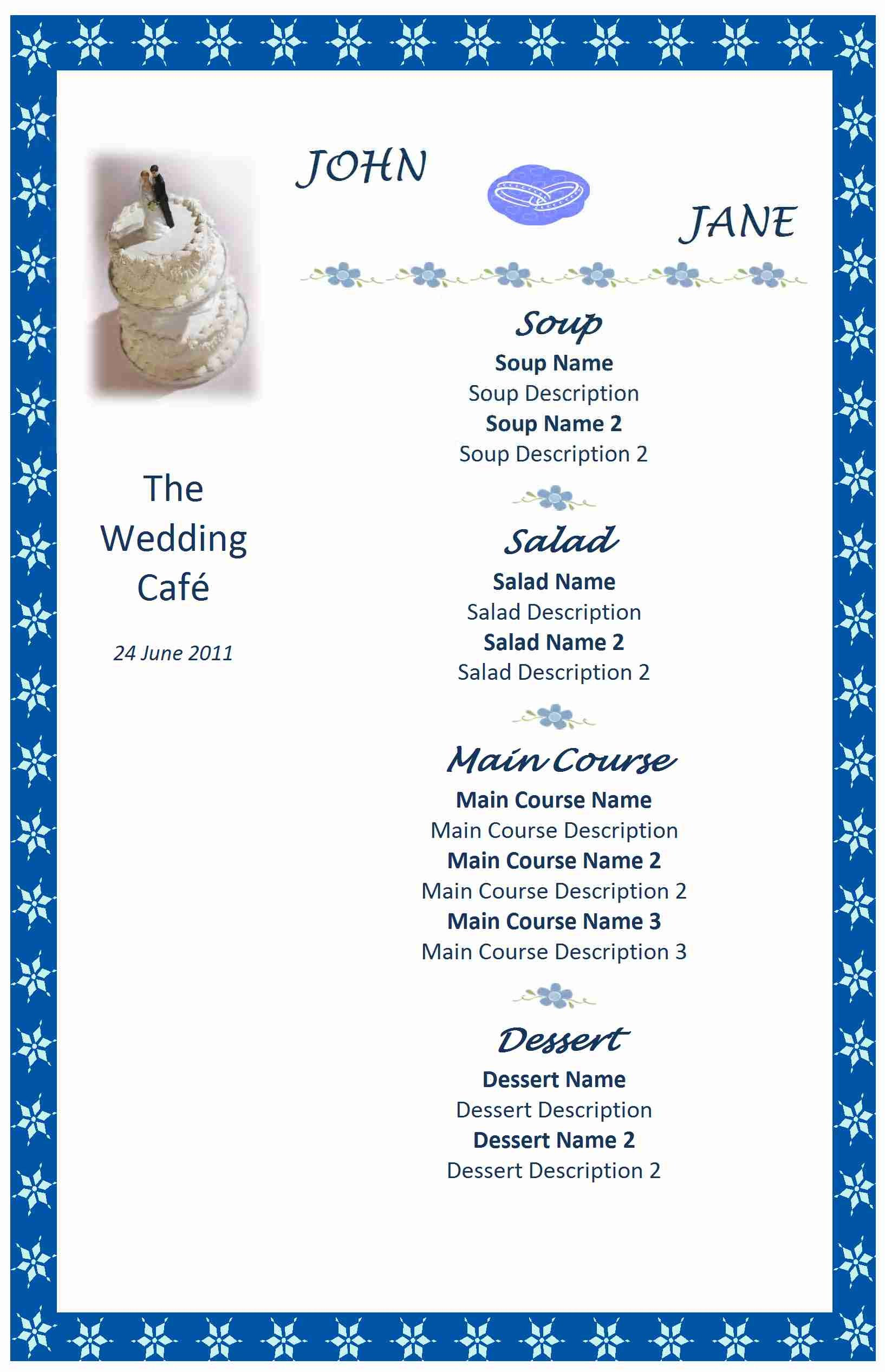 Wedding Menu Template Free Menu Word Templates Free Word Templates