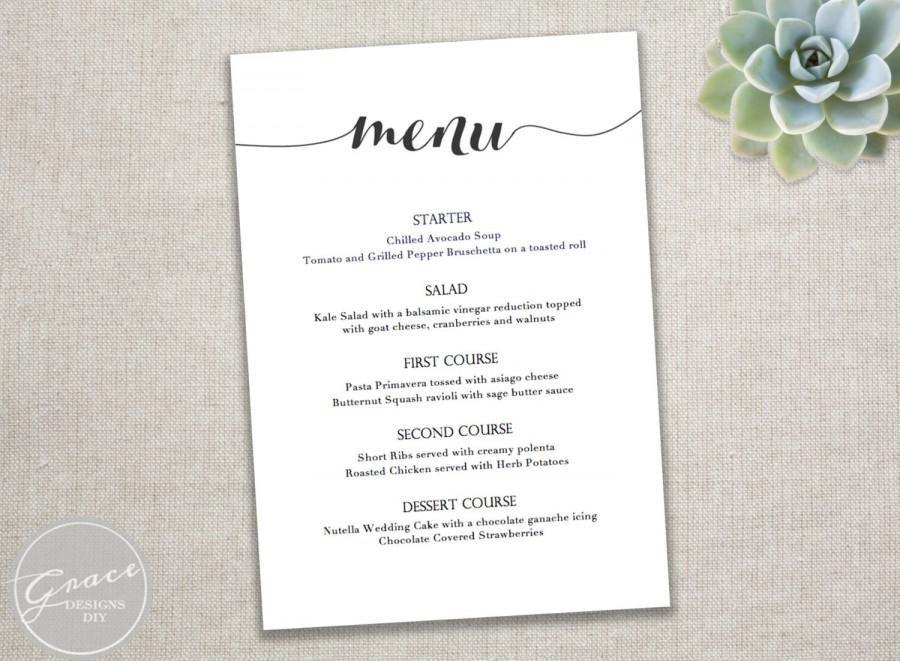 Wedding Menu Template Free Printable Black Menu Template Calligraphy Style Script