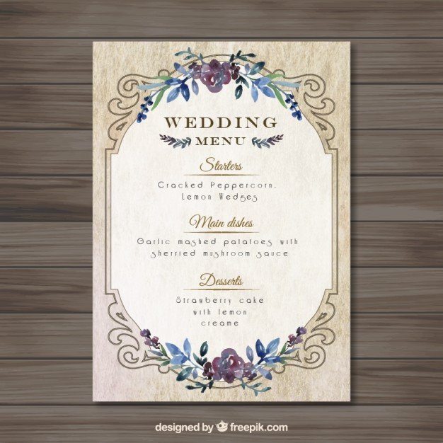 Wedding Menu Template Free Vintag Wedding Menu Template Vector