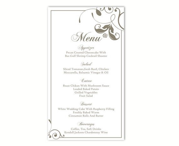 Wedding Menu Template Free Wedding Menu Template Diy Menu Card Template Editable Text
