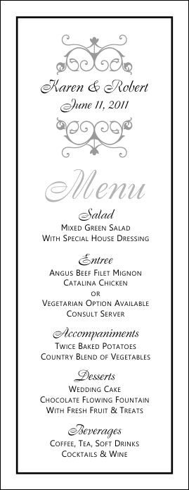 Wedding Menu Template Free Wedding Menu Templates