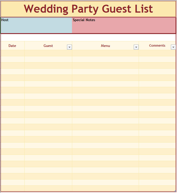 Wedding Party List Template 21 Free Wedding Party Guest List Templates Ms Fice