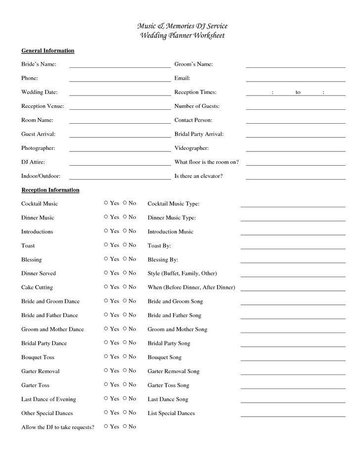 Wedding Party List Template 25 Best Ideas About Wedding Reception Checklist On