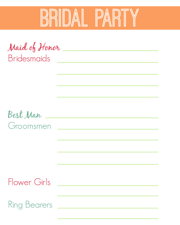 Wedding Party List Template Free 31 Page Wedding Planning Printables White Lights On