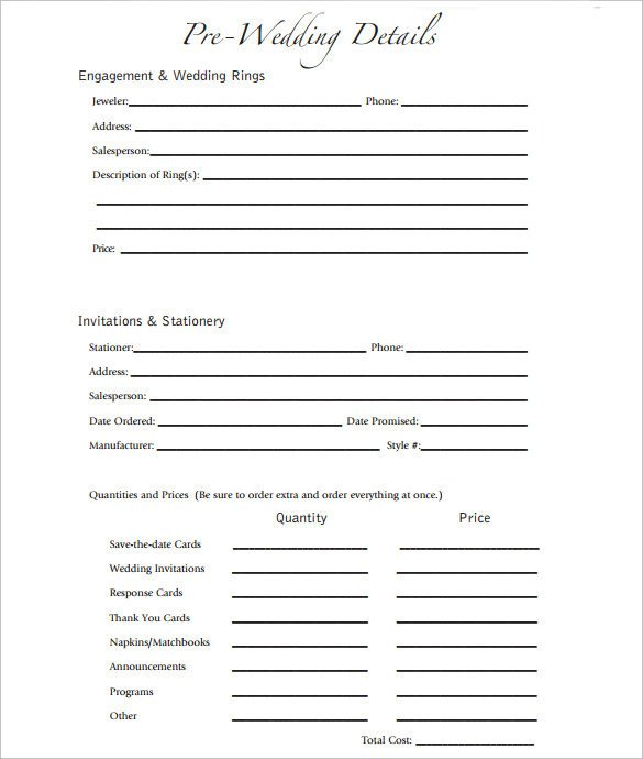Wedding Party List Template Party Planning Sample 8 Documents In Pdf