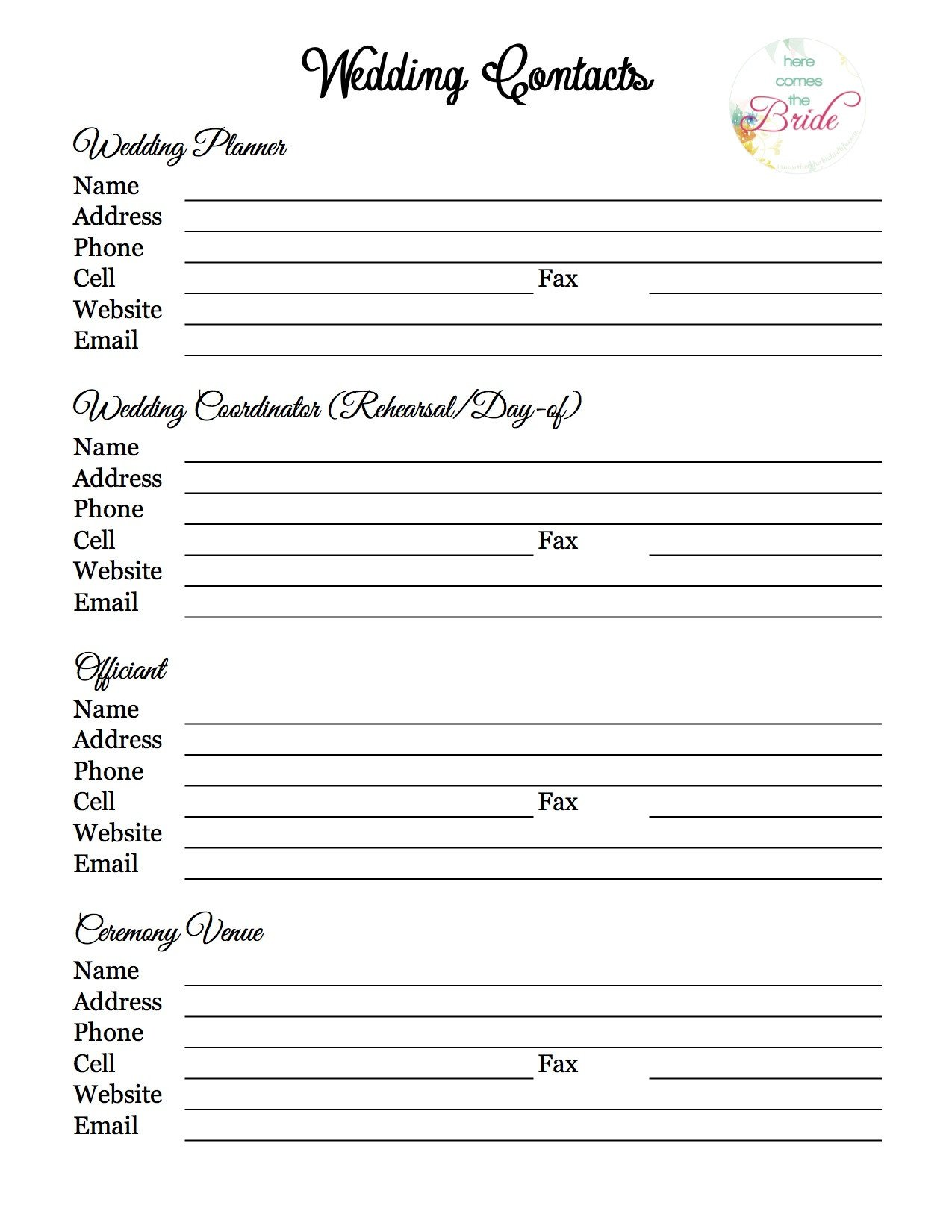 Wedding Party List Template Wedding Planner with Free Printables – Refurbished