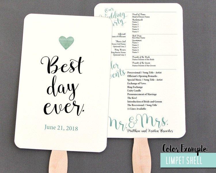 Wedding Program Fan Template Best Day Ever Wedding Program Fan Cool Colors