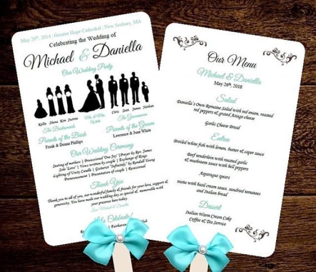 Wedding Program Fan Template Diy Silhouette Wedding Fan Program W Menu Printable