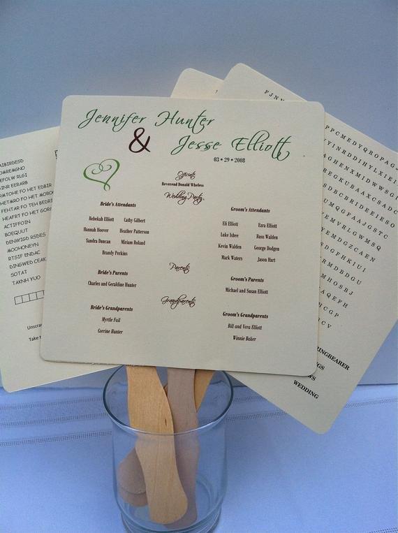 Wedding Program Fan Template Items Similar to Wedding Program Fan Template with
