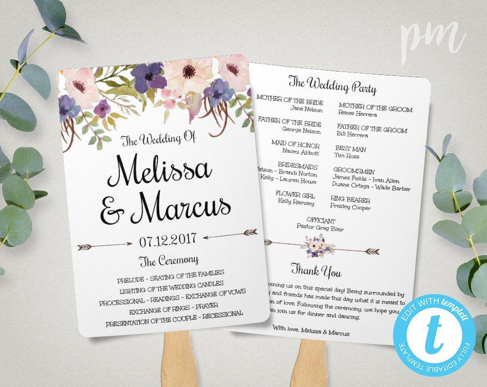 Wedding Program Fan Template Lavender Wedding Program Fan Template Watercolor Flowers