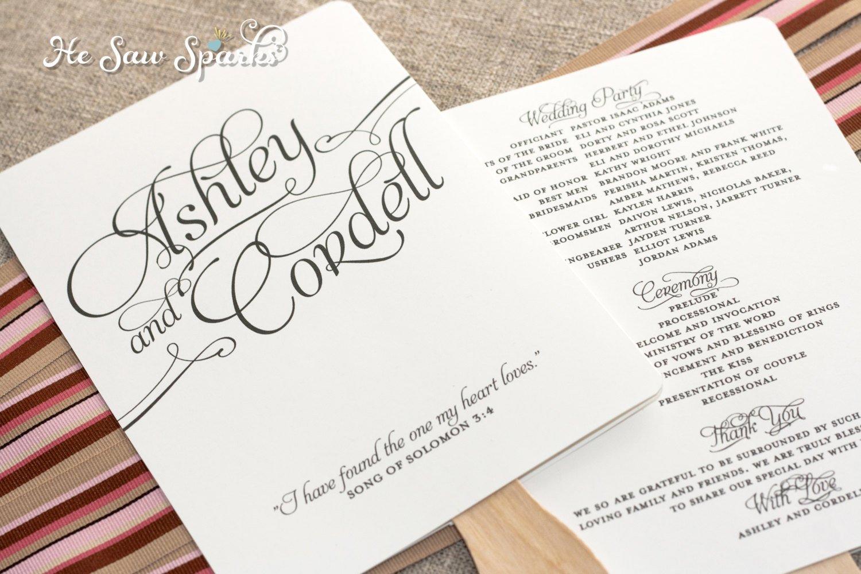 Wedding Program Fan Template Matching Paddle Fan Program Diy Printable