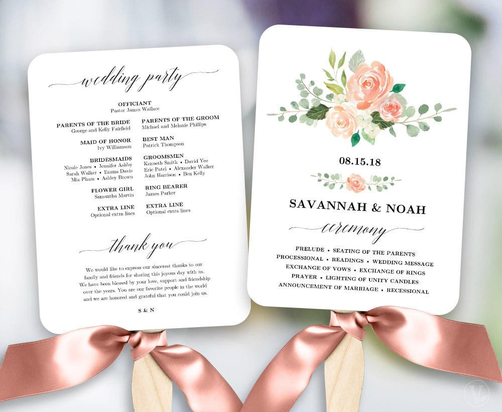 Wedding Program Fan Template Peach Blush Floral Wedding Program Fan Template Printable