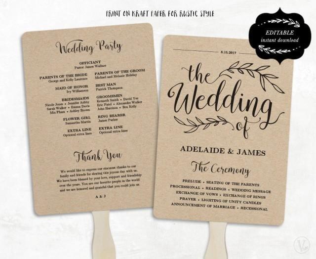 Wedding Program Fan Template Printable Wedding Program Template Fan Wedding Program