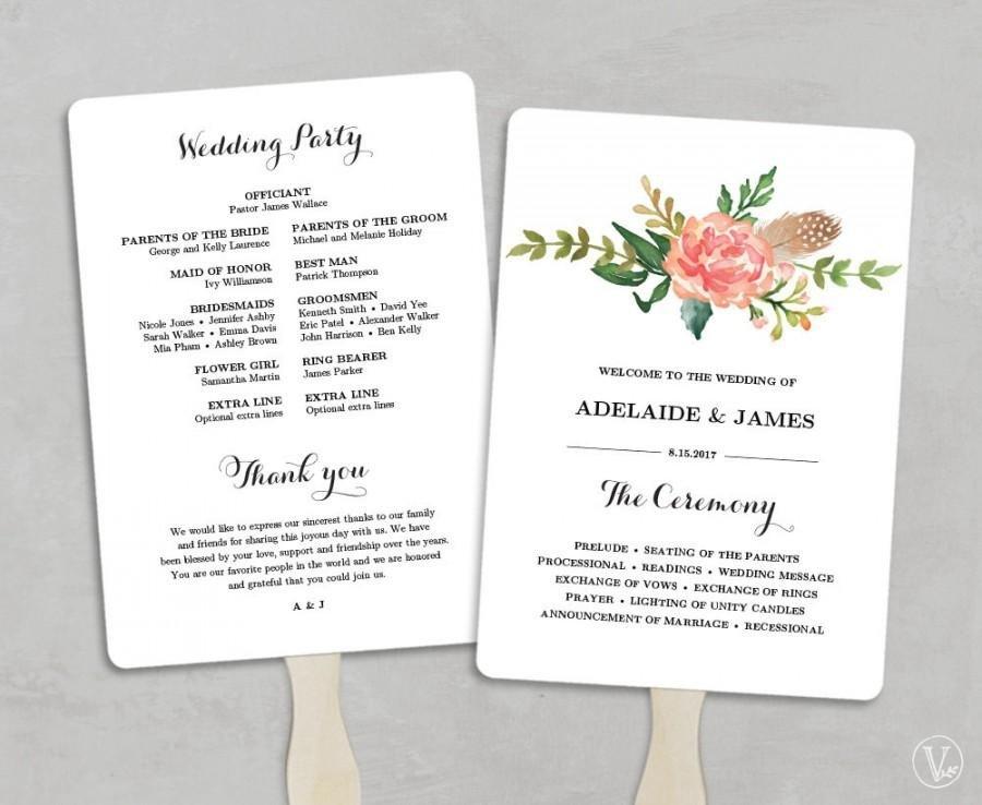 Wedding Program Fan Template Printable Wedding Program Template Fan Wedding Programs