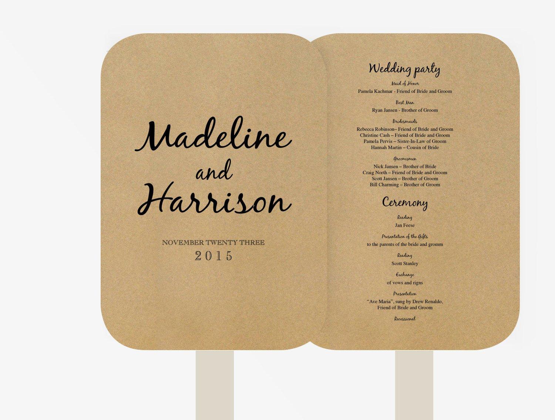 Wedding Program Fan Template Wedding Fan Program Template Editable Word Template