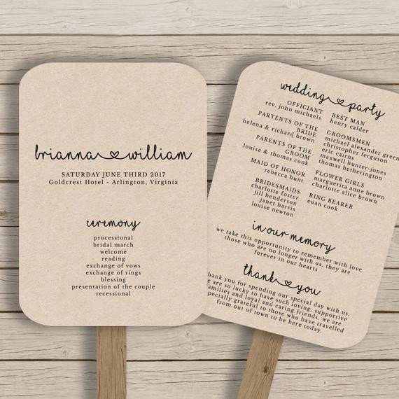 Wedding Program Fan Template Wedding Fan Program Template Rustic Wedding Fan Printable
