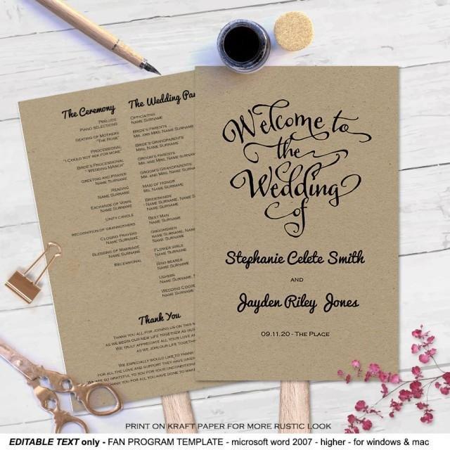 Wedding Program Fan Templates Modern Rustic Diy Wedding Program Fan Template