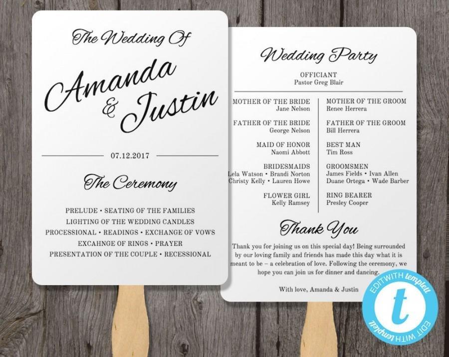 Wedding Program Fan Templates Printable Wedding Program Fan Template Fan Wedding