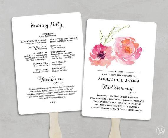 Wedding Program Fan Templates Printable Wedding Program Fan Template Wedding Fans Diy