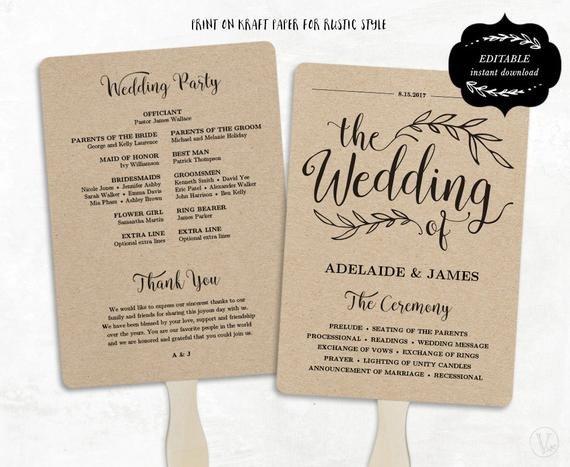 Wedding Program Fan Templates Printable Wedding Program Template Fan Wedding by Vinewedding