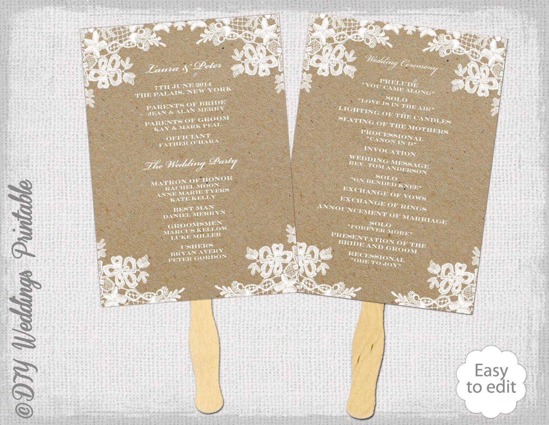 Wedding Program Fan Templates Rustic Wedding Fan Program Template Rustic Lace