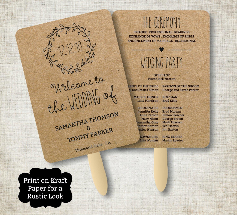 Wedding Program Fan Templates Vintage Wedding Program Fan Template Rustic Kraft Classic