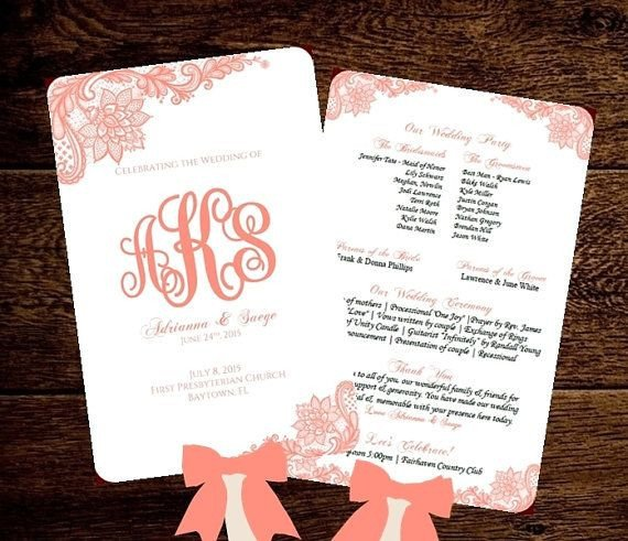 Wedding Program Fan Templates Wedding Fan Program Template Printable Coral by