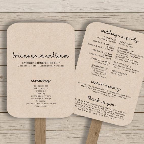 Wedding Program Fan Templates Wedding Fan Program Template Rustic Wedding Fan Printable