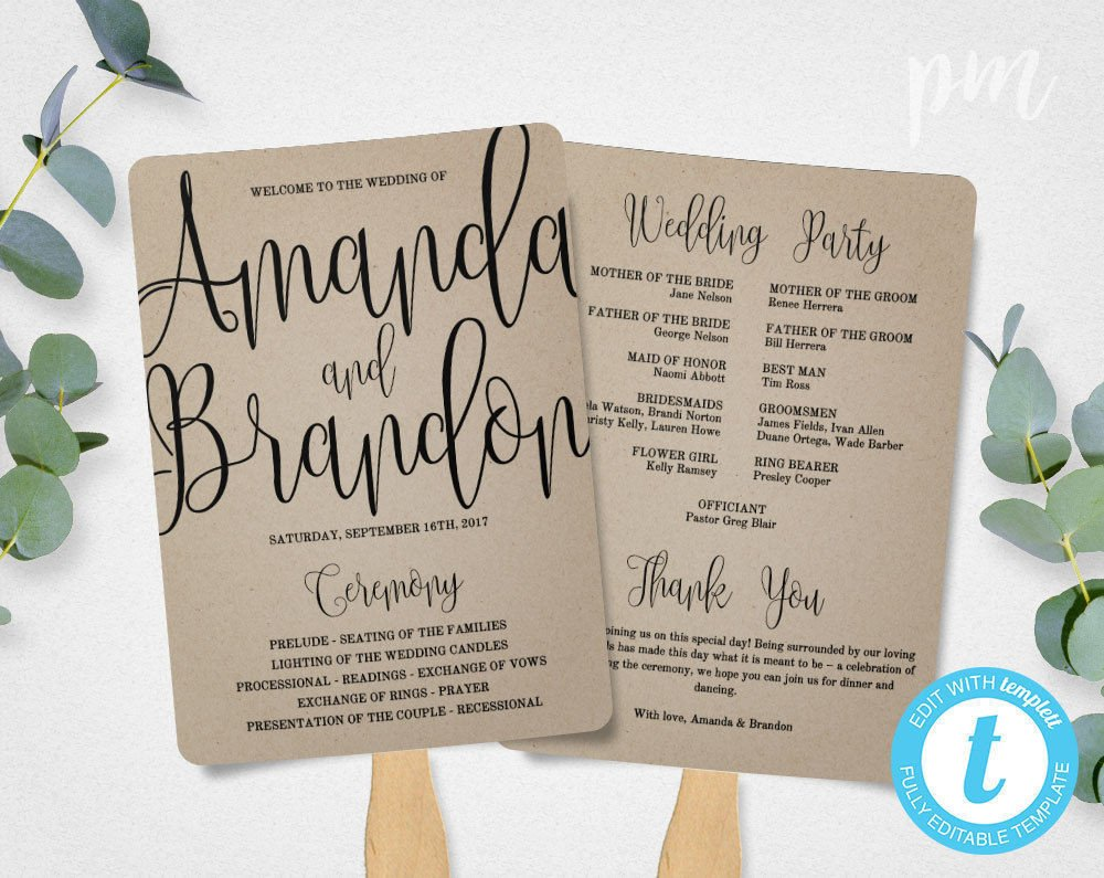 Wedding Program Fan Templates Wedding Program Fan Template Calligraphy Script Printable