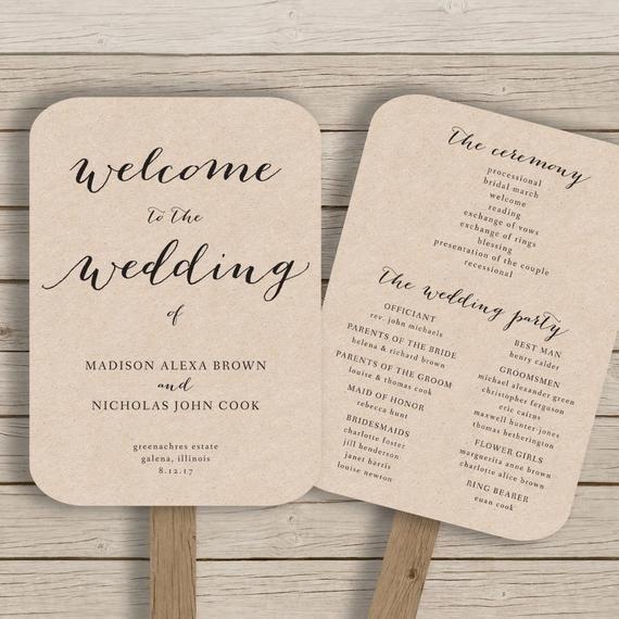 Wedding Program Fan Templates Wedding Program Fan Template Printable by Hopestreetprintables