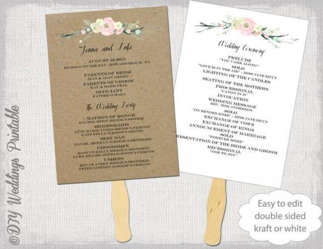 """Wedding Program Fan Templates Wedding Program Fan Template """"rustic Flowers"""" Diy Kraft"""
