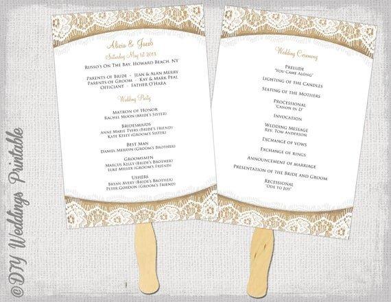 Wedding Program Fan Templates Wedding Program Fan Template Rustic Burlap & Lace