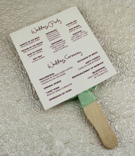 Wedding Program Fan Templates Wedding Program Paddle Fan Template – Matelasse Design