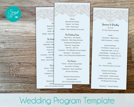 Wedding Program Template Google Docs Lace Wedding Program Template Double Sided Free Color