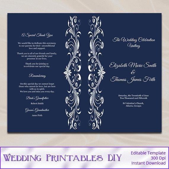 Wedding Program Template Google Docs Navy Wedding Program Template Diy Blue order Of Ceremony Half