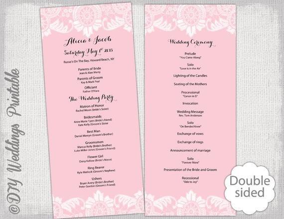 Wedding Program Template Google Docs Wedding Program Template Powder Pink Antique Lace