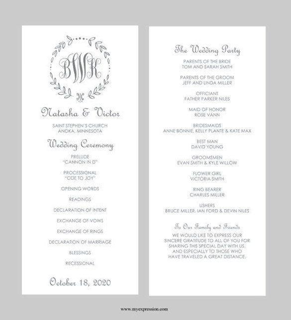 Wedding Program Template Microsoft Word 43 Wedding Templates Word