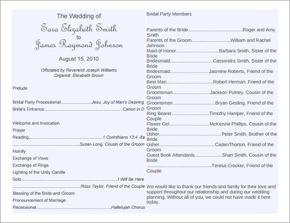 Wedding Program Template Microsoft Word 8 Word Wedding Program Templates Free Download